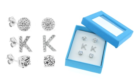 Sterling Silver Initial Stud Earrings Trio with Swarovski Elements