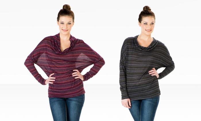 Seven7 Lurex Stripe Cowl Neck Top: Seven7 Lurex Stripe Cowl Neck Top. Two Colors Available. Free Shipping and Returns.