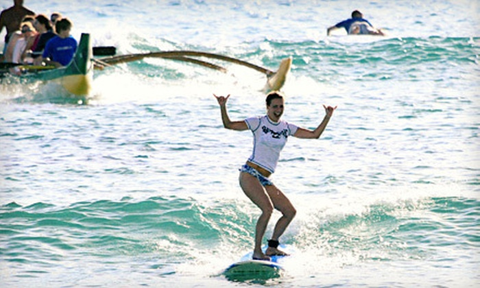 Big Wave Dave Surf Co. - Waikiki: Group Surf Lesson and Outrigger-Canoe Outing for One, Two, or Four from Big Wave Dave Surf Co. (Half Off)