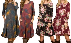 Women's Long-Sleeve Printed Dress with Pockets. Plus Sizes Available.