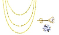 GROUPON: 14K Gold Necklace Chain with Free Swarovski Crystal E... 14K Gold Necklace Chain with Free Swarovski Crystal Earrings