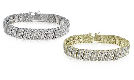1.00 or 2.00 CTTW Miracle-Set Diamond Wave Tennis Bracelet