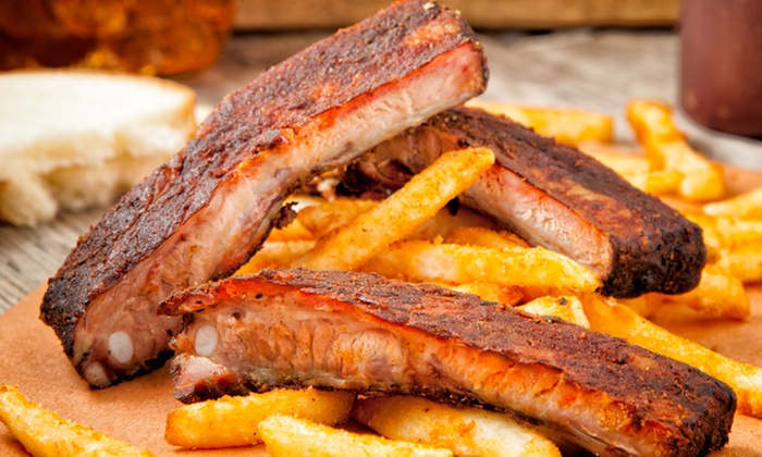 Hawg Jaw Que & Brew - Northland: $59 for a Barbecue Feast with Wings, Ribs, Brisket, and Pulled Pork from Hawg Jaw Que & Brew ($115 Value)