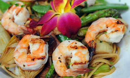 Asian-Fusion Dinner and Drinks for Two or Four at Asian Fin Restaurant (Up to  50% Off)