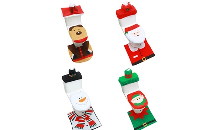 Three-Piece Christmas-Themed Toilet Decoration Sets in a Choice of Design: One ($15) or Two ($25)