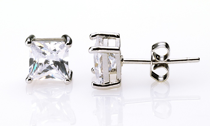 Princess Solitaire Stud Earrings: $3.99 for One Pair of White-Gold-Plated Princess-Cut Solitaire Stud Earrings ($49.95 List Price). Free Returns.