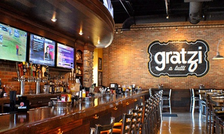 Pizza and Pub Food at Gratzi a Tutti Pizzeria Bar & Sports (40% Off). Two Options Available.