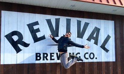 image for Brew Tasting, Glassware, and Merchandise Credit for Two, Four, or Six at Revival Brewing (Up to 48% Off)