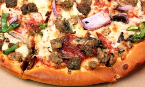 Buck's Pizza: Large Speciality and Regular Pizza with 2-Liter or Two Groupons, Each Good for $12 Worth of Pizza at Buck's Pizza