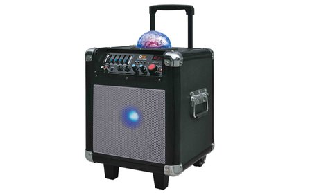 QFX Portable Bluetooth Tailgate Speaker with Microphone & Disco Ball