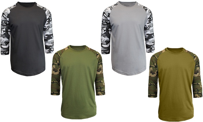 aa26b0f2 Galaxy By Harvic Men's 3/4-Length Raglan Camouflage Shirt