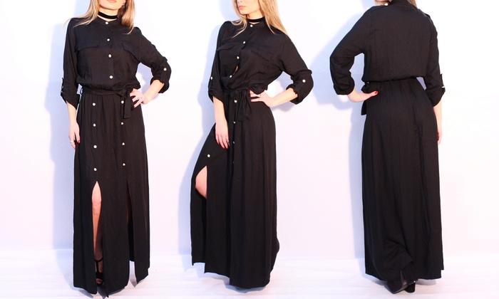 Vestito nero lungo con spacchi  e3856188a2d