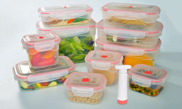 21 Piece Set Of Vacuum Sealed Storage Containers ...