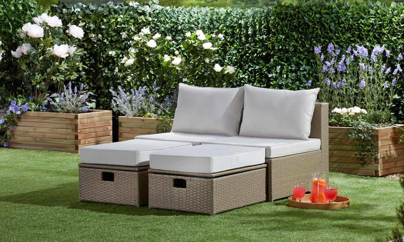 Napoli Four-Piece Rattan-Effect Lounger Set with Storage and Optional Covers (£259.99)