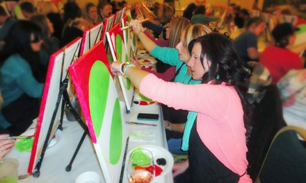 Social painting classes wine and palette dfw groupon for Groupon wine and paint