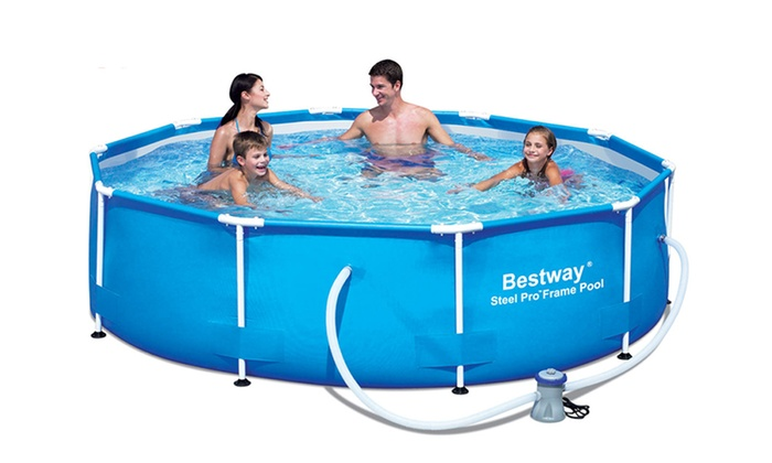 Swimming Pool Delivery : Bestway steel frame swimming pool groupon goods