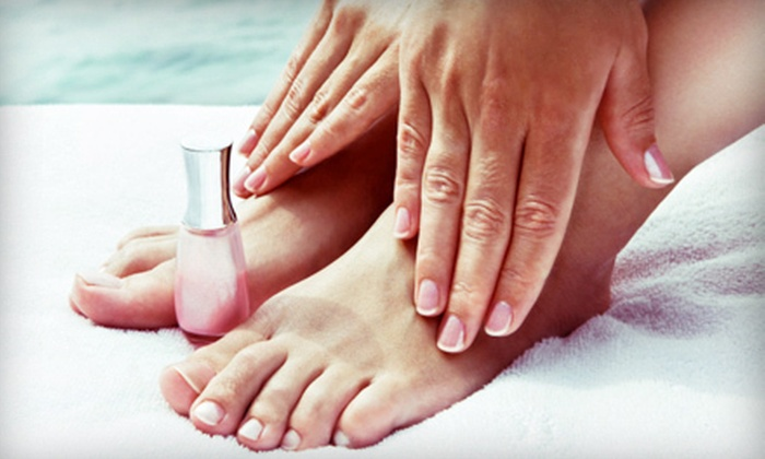 Salon V - Maple: One or Three Shellac Manicures with Spa Pedicures at Salon V (Up to 54% Off)