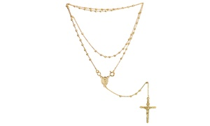 Solid 14k Gold Crucifix Rosary Necklace