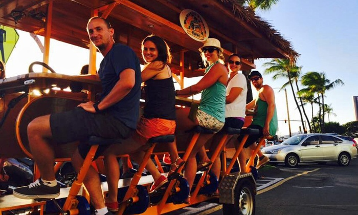 Paradise Pedals Hawaii, LLC - Multiple Locations: $23for a Kaka'ako or Waikiki Social-Mixer Bar Tour from Paradise Pedals Hawaii, LLC (Up to $40Value)