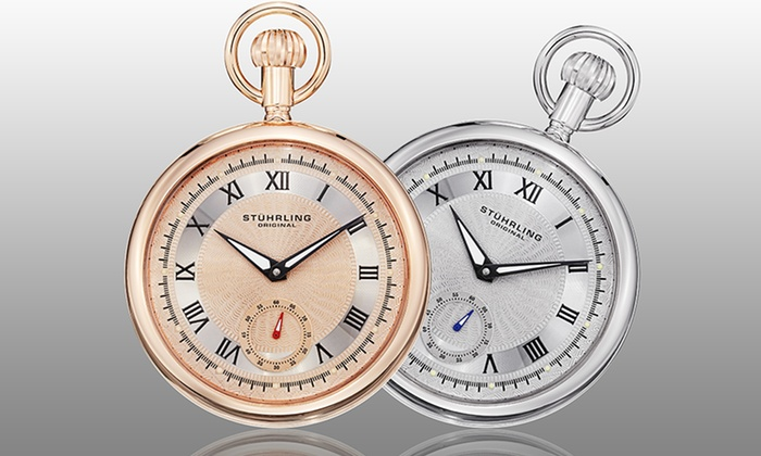 stuhrling original stainless steel pocket watches groupon