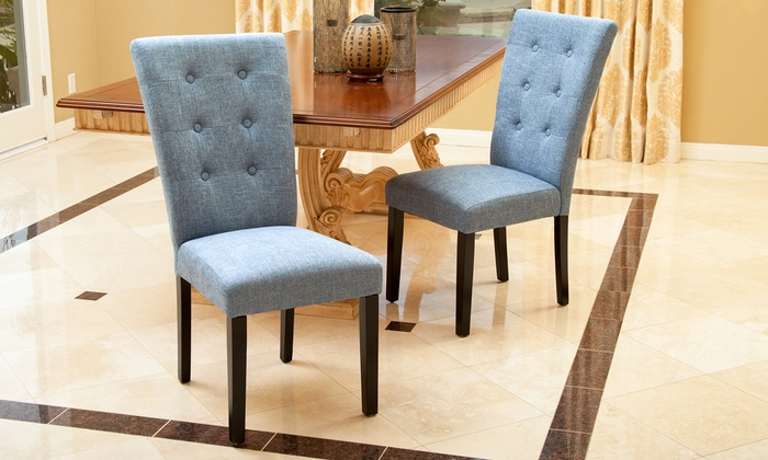 Leighton Tufted Dining Chairs Groupon Goods