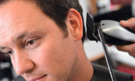 Men's Haircuts and Massages at Head Quarters Men's Haircuts (Up to 65% Off). Four Options Available.