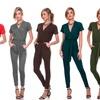 Women's V-Neck Short-Sleeve Jumpsuit Romper