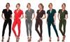 Women's V-Neck Short-Sleeve Jumpsuit Romper: Women's V-Neck Short-Sleeve Jumpsuit Romper