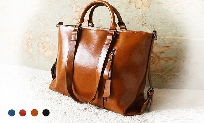 $69 for a Genuine Cow Leather Shoulder Handbag in Choice of Colour