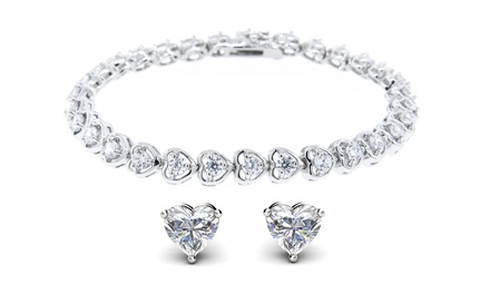 CZ Heart Tennis Bracelet and Earring Set in 18K White Gold-Plated Brass