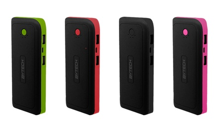 ByTech 8,000mAh Rechargeable Dual-USB Power Bank with Built-In Flashlight