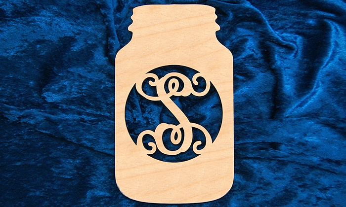"aMonogram Art: Natural or Painted 12""x8"" Custom Monogrammed Wooden Mason Jar Sign from aMonogram Art (50% Off)"