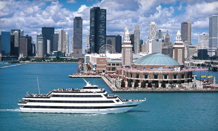 """""""Mystic Blue"""" and """"Spirit of Chicago"""" Cruises at Navy Pier - Near North Side: $55 for Dinner Cruise from the Mystic Blue and Spirit of Chicago Cruises at Navy Pier (Up to $115.46 Value)"""