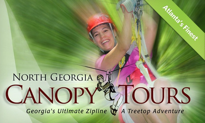 North Georgia Canopy Tours - Lula: $49 for a Sky Bridge Zipline-Tour Package with Photos or Disc Golf from North Georgia Canopy Tours (Up to $109 Value)