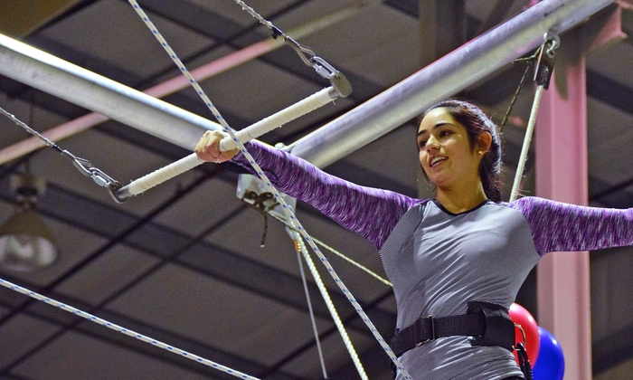West Coast Flying Trapeze - Pitt Meadows: Class for 1, 2, 4, or Up to 10 with T-shirts at West Coast Flying Trapeze (Up to 59% Off)