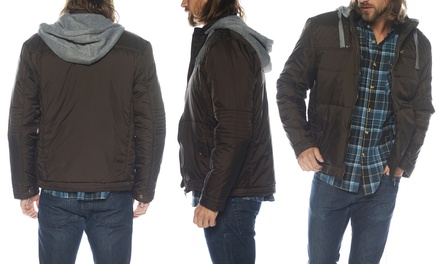 Men's Puffer Jacket with Removable Cotton Hood (Size M)