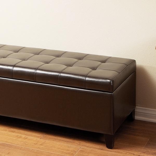 Incredible Santa Rosa Dark Brown Tufted Bonded Leather Storage Ottoman Bench Creativecarmelina Interior Chair Design Creativecarmelinacom