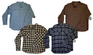Big and Tall Men's Flannel Button-Down Long-Sleeve Shirt (2XL-5XL)
