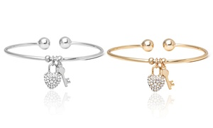 18k Gold Plated Heart And Key Bracelet Made With Swarovski Elements