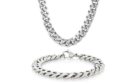 Men's Stainless Steel Cuban Curb Chain Necklace and Bracelet Set (2-Piece)