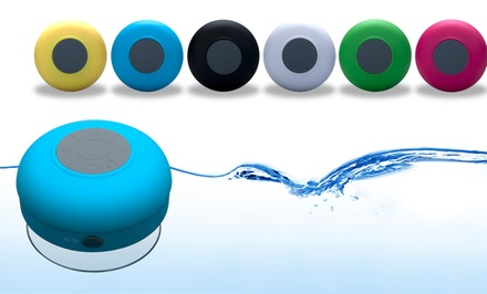 groupon daily deal - AudioSnax Hydro Bluetooth Shower Speaker and Speakerphone in Black, Blue, Green, Pink, White, or Yellow. Free Returns.