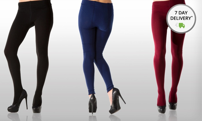 Two Pairs of Women's Fleece-Lined Tights: Two Pairs of Footed or Footless Fleece-Lined Tights. Multiple Options Available. Free Shipping.