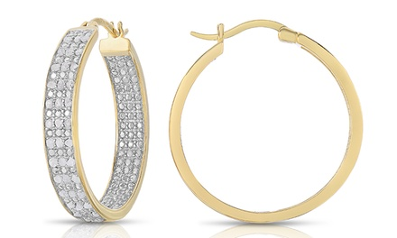 1.00 CTTW Genuine Diamond Earrings in Gold Plated Solid Sterling Silver