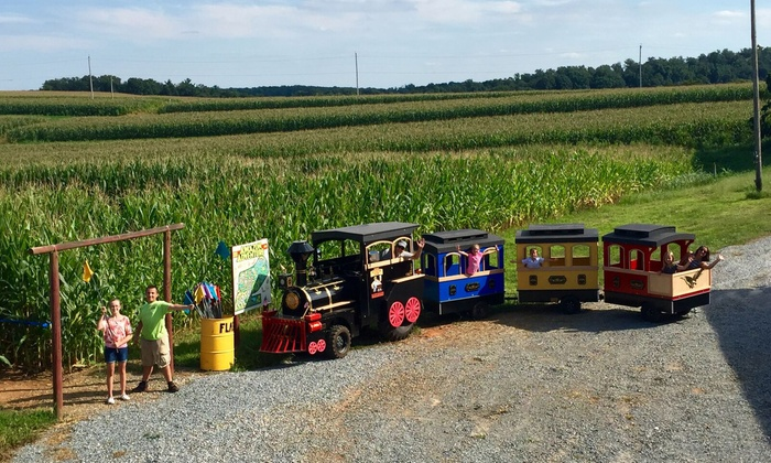Maize Quest - Jarrettsville: Corn Maze Package for Two or Four with Cow-Train Rides and Optional Apple Picking at Maize Quest (Up to 52% Off)
