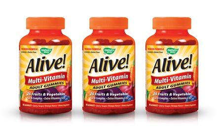 Alive! Adult Multi-Vitamin Gummies; 3-Pack of 90 ct. Jars + 5% Back in Groupon Bucks