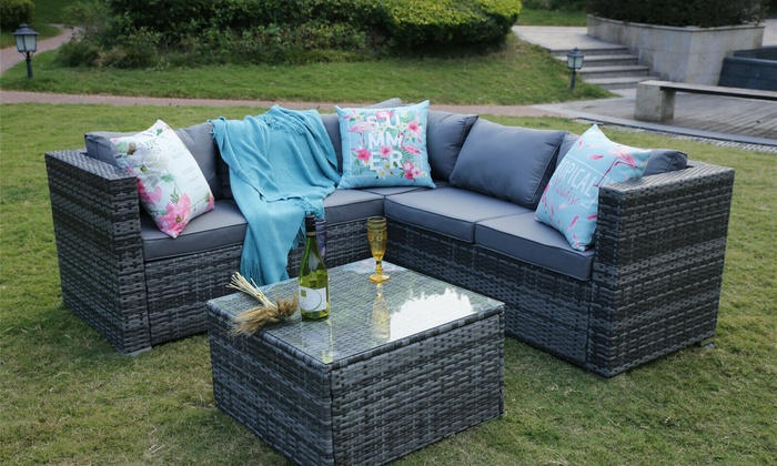 Yakoe Sicily Rattan-Effect Garden Furniture Set with Optional Cover for £374.99