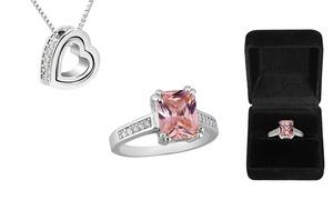 Emerald Cut Created Sapphire Ring