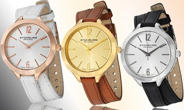 Extrêmement Montre Stürhling, bracelet cuir double tour | Groupon Shopping PZ49