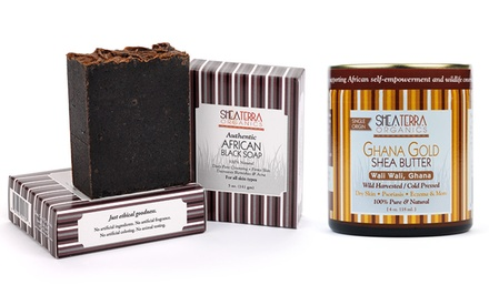 Shea Terra Organics Black Soap and Shea Butter Set