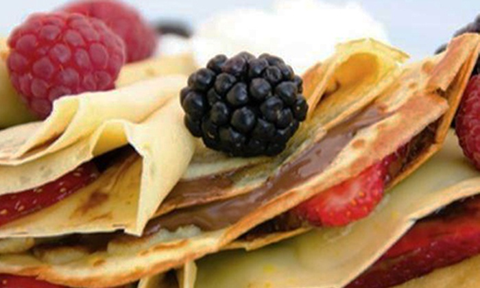 Crêpes & Grapes - Town Center: $8 for Two Vouchers for Food and Drinks at Crêpes & Grapes ($16 Value)